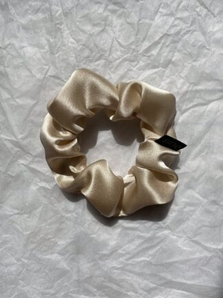 beige silk scrunchie