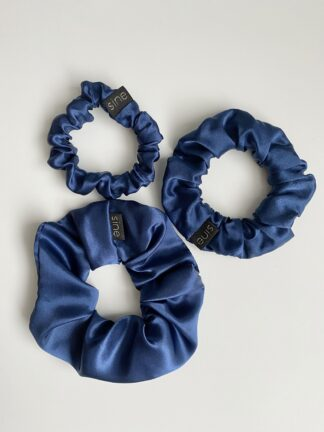 silk scrunchie navy
